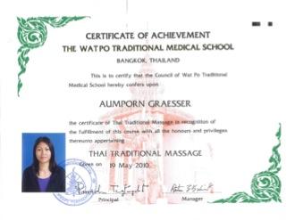 Zertifikat Thaimassage Wat Pho Aumporn