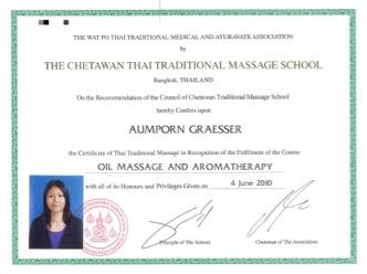 Zertifikat Ölmassage Wat Pho Aumporn